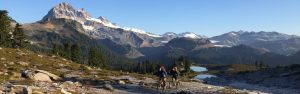 Enjoying late a late season overnight mountian bike advenutre at the Elfin Lake shelter in the Squamish, BC Alpine